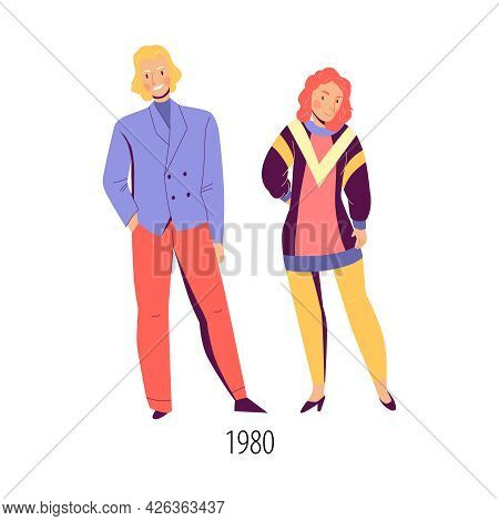 Woman And Man Wearing Bright Clothes In Fashion Of Eighties Flat Isolated Vector Illustration
