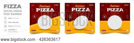 Pizza Social Media Banner Post Template. Pizza Social Banner, Pizza Banner Design, Fast Food Social