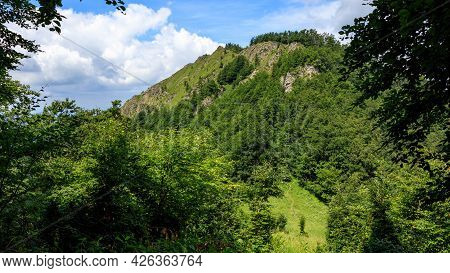 View Of The Baraniarky Peak In Mala Fatra, Slovakia. Green Hilly Forested Landscape.