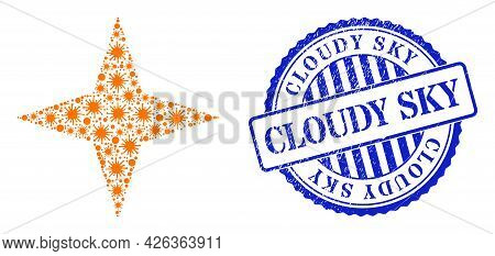 Infection Mosaic Space Star Icon, And Grunge Cloudy Sky Seal Stamp. Space Star Collage For Breakout