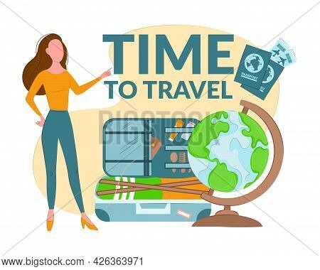 Composition Time To Travel. The Girl Offers To Travel. Items Symbolizing Travel, A Globe, A Suitcase