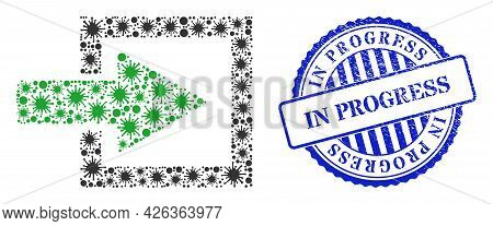 Bacilla Mosaic Import Arrow Icon, And Grunge In Progress Seal Stamp. Import Arrow Mosaic For Isolati