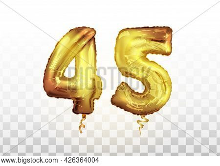 Golden Foil Number 45 Forty Five Metallic Balloon. Party Decoration Golden Balloons. Anniversary Sig