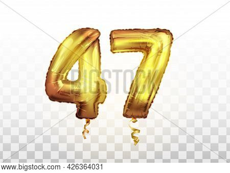 Golden Foil Number 47 Forty Seven Metallic Balloon. Party Decoration Golden Balloons. Anniversary Si