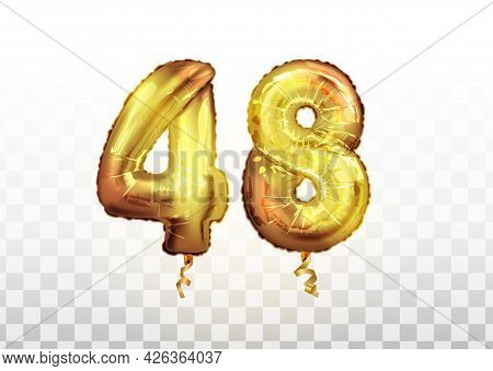Vector Golden Foil Number 48 Forty Eight Metallic Balloon. Party Decoration Golden Balloons. Anniver