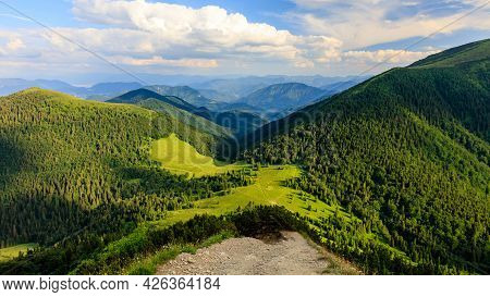 Green Mountain Ridge In Nice Weather, With Blue Sky And White Clouds. Mala Fatra, Slovakia.