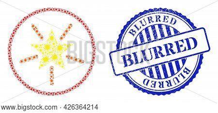 Virulent Mosaic Rounded Shine Star Icon, And Grunge Blurred Badge. Rounded Shine Star Mosaic For Epi