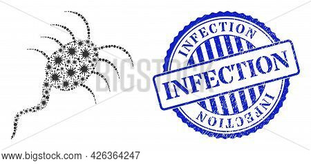 Virus Collage Infection Microbe Icon, And Grunge Infection Seal Stamp. Infection Microbe Mosaic For