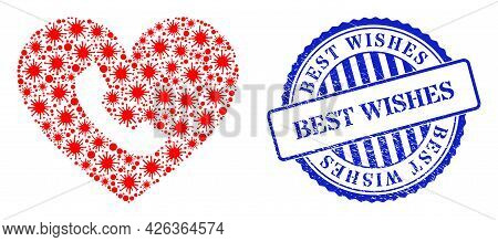 Contagious Mosaic Phone Heart Icon, And Grunge Best Wishes Seal Stamp. Phone Heart Mosaic For Medica