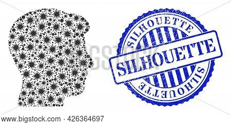 Bacterium Mosaic Man Head Profile Icon, And Grunge Silhouette Stamp. Man Head Profile Mosaic For Med