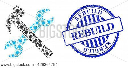 Contagious Mosaic Wrench And Hammer Icon, And Grunge Rebuild Seal Stamp. Wrench And Hammer Collage F