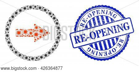 Viral Mosaic Rounded Right Arrow Icon, And Grunge Re-opening Seal Stamp. Rounded Right Arrow Collage