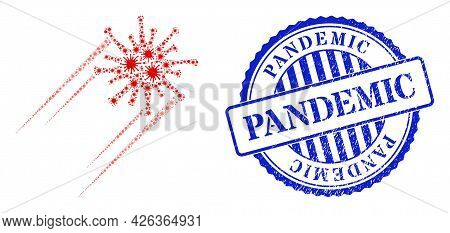 Covid Collage Rush Covid Virus Icon, And Grunge Pandemic Seal Stamp. Rush Covid Virus Mosaic For Epi