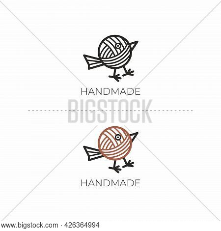 Handmade Logo With Bird. Bird Logo. Yarn Icon. Design Element For Handmade Master.