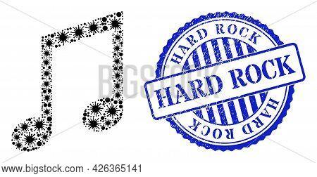 Bacilla Mosaic Music Notes Icon, And Grunge Hard Rock Seal. Music Notes Mosaic For Pandemic Images,