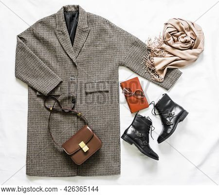 Women's Autumn Spring Clothing ыуе - Oversized Plaid Coat, Leather Black Boots, Leather Bag, Beige C
