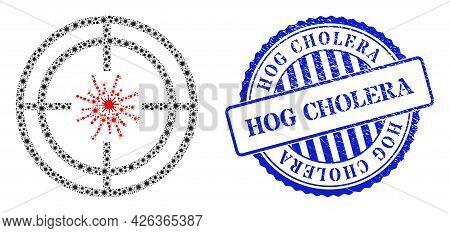 Viral Mosaic Target Virus Icon, And Grunge Hog Cholera Seal. Target Virus Mosaic For Breakout Templa