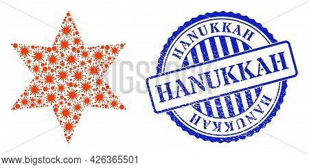 Virulent Mosaic Six Pointed Star Icon, And Grunge Hanukkah Stamp. Six Pointed Star Mosaic For Breako