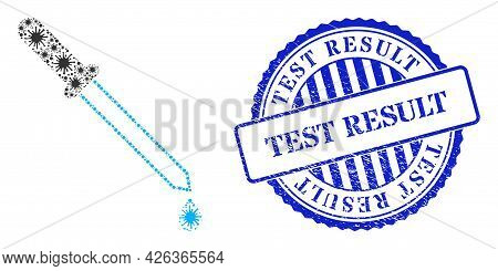 Cell Collage Pipette Icon, And Grunge Test Result Seal Stamp. Pipette Collage For Epidemic Templates