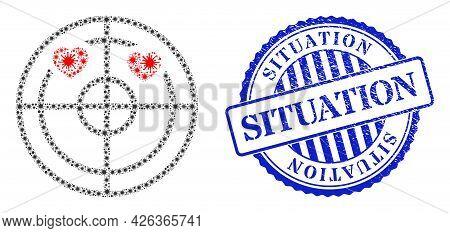 Covid Mosaic Love Hearts Radar Icon, And Grunge Situation Stamp. Love Hearts Radar Mosaic For Isolat