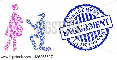 Coronavirus Mosaic Pregnant Woman Engagement Icon, And Grunge Engagement Seal Stamp. Pregnant Woman