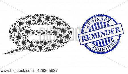 Virulent Mosaic Text Message Icon, And Grunge Reminder Seal. Text Message Mosaic For Pandemic Templa