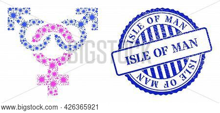 Covid Collage Polyandry Symbol Icon, And Grunge Isle Of Man Seal. Polyandry Symbol Collage For Pande