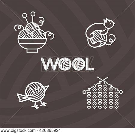 Set Of Vector Logo For Knitting. Handmade Emblems. Vector Illustration With Knitting. Wool Lettering