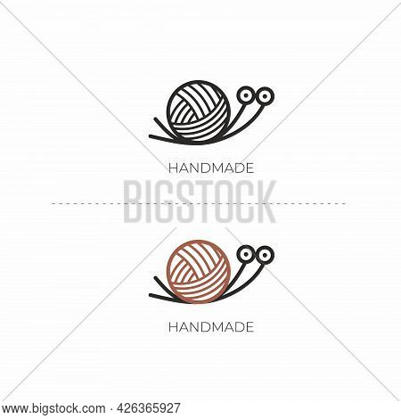 Vector Illustration With A Snail. Handmade Logo. Snail Yarn And Knitting Needles.