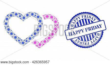 Coronavirus Mosaic Romantic Hearts Icon, And Grunge Happy Friday Seal Stamp. Romantic Hearts Mosaic