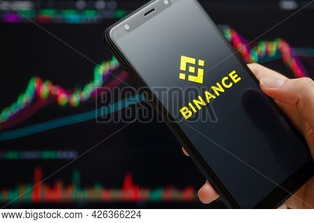 Ukraine, Odessa - June, 1 2021: Binance Mobile App Running At Smartphone Screen With Trading Candles