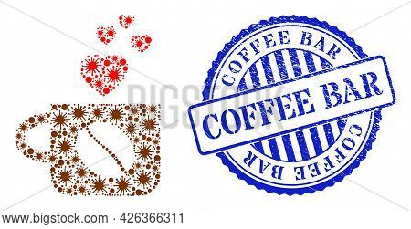 Virus Mosaic Lovely Coffee Cup Icon, And Grunge Coffee Bar Seal. Lovely Coffee Cup Mosaic For Isolat