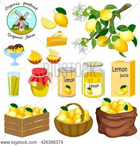 Vector Set With Lemons.lemons And Their Products In Color Vector Set.