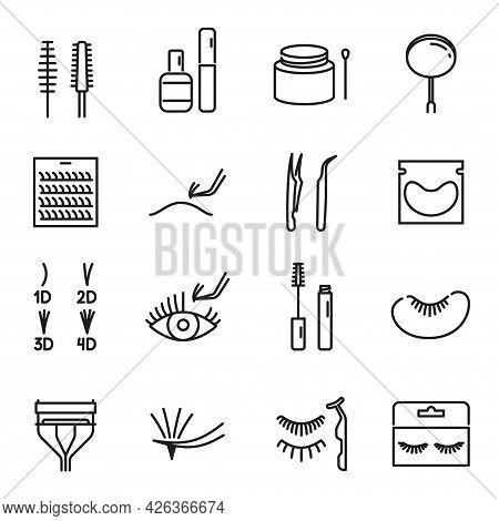Collection Of Linear False Eyelashes Icon Vector Illustration. Set Of 1d, 2d, 3d, 4d Volume Eyelash