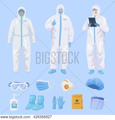 Collection Protective Equipment For Medical Staff Vector Flat Scrub Clinic Staff In Personal Uniform
