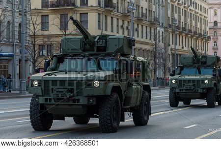 April 30, 2021 Moscow, Russia. Typhoon-airborne Armored Vehicle On Tverskaya Street In Moscow.