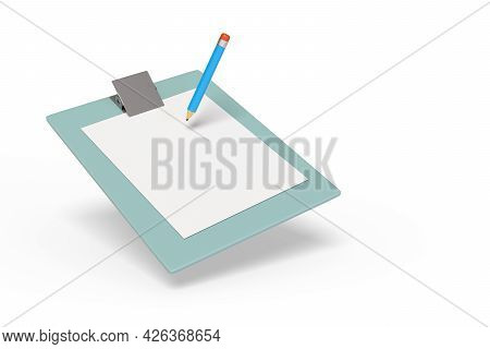 Pencil On A Clip Board Isolated In White Background. 3d Illustration.