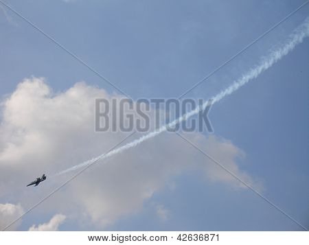 L-39 Russian Fighter With Smoke Trace