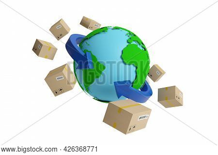 Earth Globe Surrounded By Arrows And Packages. Shipping Concept. 3d Illustration.