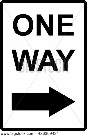 One Way Text With Right Arrow Sign. Black On White Background. Directional Signs And Symbols.