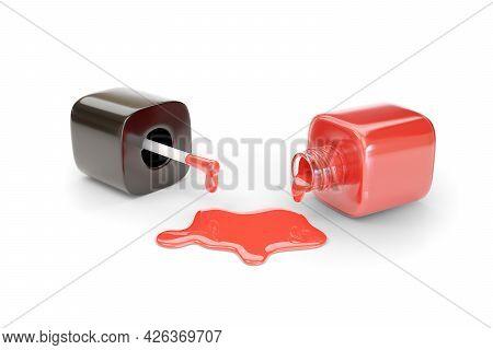 Spilled Red Nail Polish Bottle Isolated On White Background. 3d Illustration.