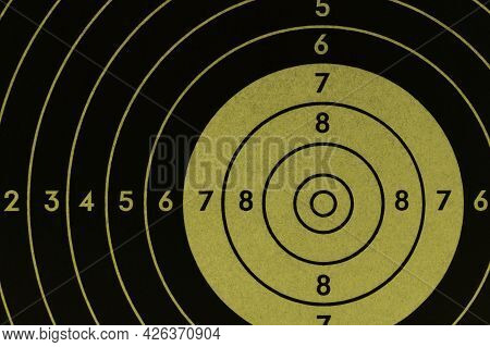 Target For Shooting. Khaki Or Green Tinted Background Or Wallpaper. Dark Inverted Backdrop About Sho