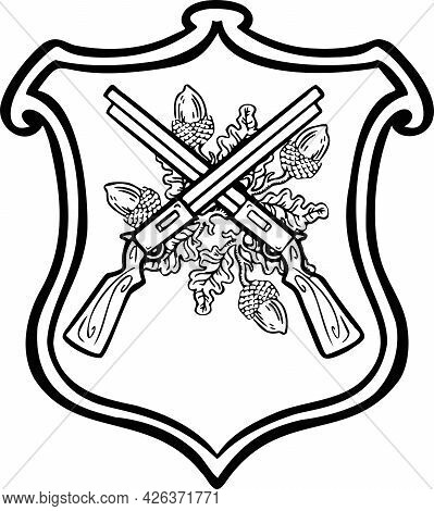 Black And White Linear Sign, Designation Coat Of Arms Of Hunters Shooters, Hand Drawn Illustration V