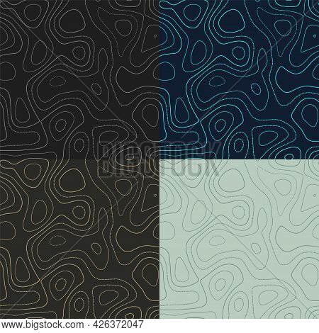 Topography Patterns. Seamless Elevation Map Tiles. Astonishing Isoline Background. Neat Tileable Pat