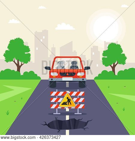 Hole In The Road. Repair Work On The Track. Flat Vector Illustration.