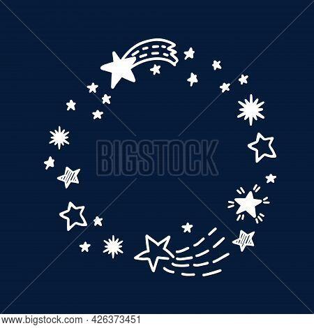 Doodle Comets And Stars Hand Drawn Frame. Starry Doodles Vector Illustration On The Dark Blue Backdr