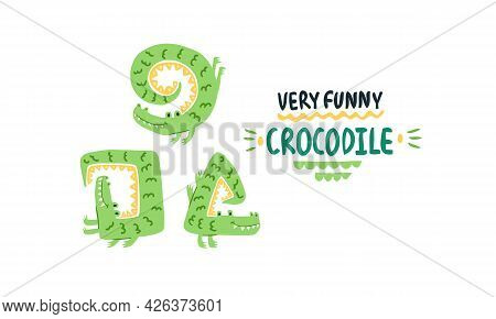 Cute Naughty Crocodile. Different Poses Simple Kids Naive Funny Cartoon Style. Illustration For An A