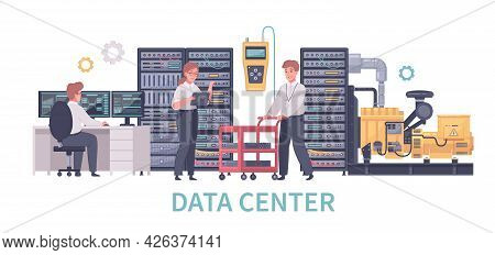 Datacenter Cartoon Composition With Gear Icons And Characters Of Working Technicians With Computer A