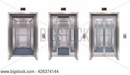 Elevator Door Realistic Set Of Three Front Views Of Entrance To Elevator With Silver Side Post Vecto