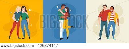 Lonely And Together Square Set With Romance Symbols Flat Isolated Vector Illustration
